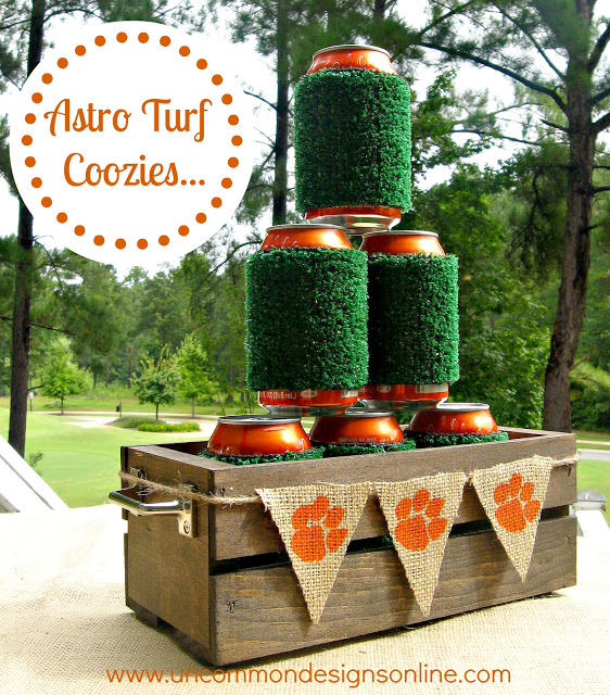 Whimsical and fun Astro Turf Coozies for a conversation starter at the tailgate via Uncommon Designs