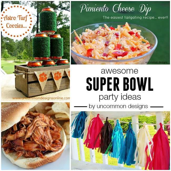 Awesome Super Bowl ideas including recipes, decorations, and games via Uncommon Designs