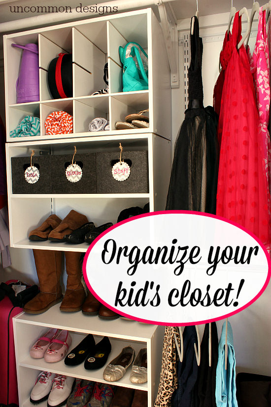 Organize a messy closet with Rubbermaid's HomeFree Closet System. No cutting involved for a custom closet! Uncommon Designs. #pmedia #HomeFreeLowes #ad