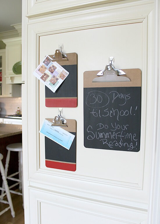 Learn How to Paint Chalkboard Clipboards via Uncommon Designs.