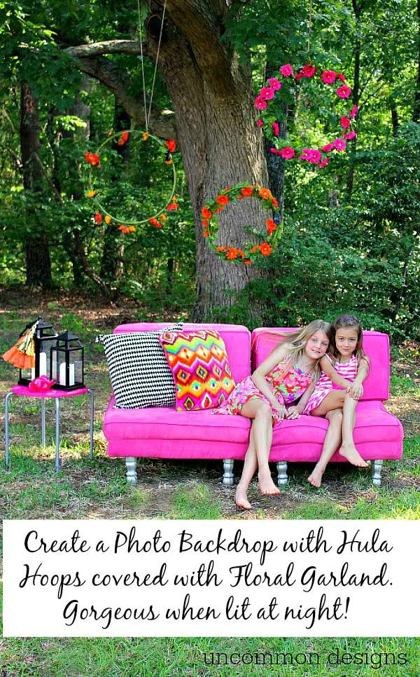 Make a lit photo backrop with flowers and hula hoops! A simple step by step tutorial by Uncommon Designs