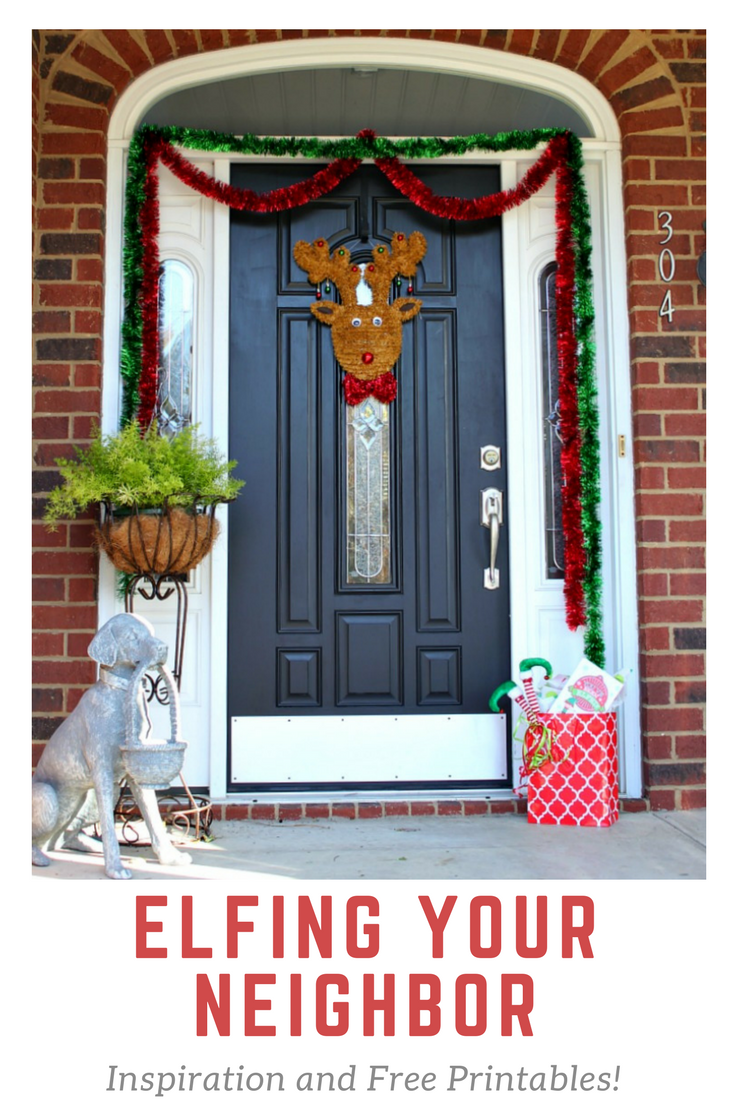 Enjoy this fun new tradition at work or in your  neighborhood. Elfing your Neighbor is so much fun to do and we are sharing inspiring ideas and Free Printables! Find more at https://www.uncommondesignsonline.com #Christmas #HolidayTraditions #FamilyFun