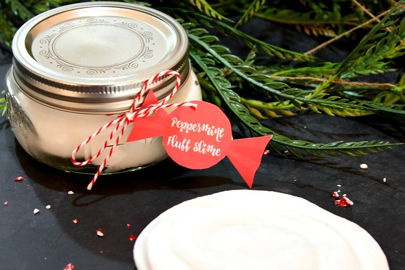 Peppermint Fluff Slime is so simple to make. This one is so fluffy and soft and it makes a great Christmas gift with the free printable tags! See more at https://uncommondesignsonline.com/ #Christmas #Crafts #KidsCrafts