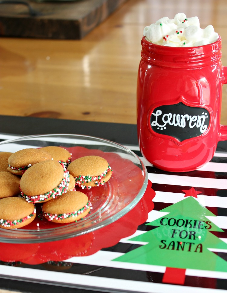 Get the kids in on the fun of creating a easy holiday cookies for Santa. Paired with delicious hot chocolate and this adorable downloadable placemat you are ready for Santa in an instant! See more on https://www.uncommondesignsonline.com/ #ChristmasCookies #Christmas #NewforSanta #ad