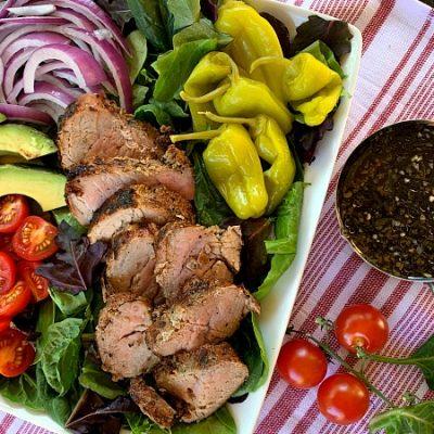 Garlic & Cracked Black Pepper Grilled Pork Tenderloin Salad