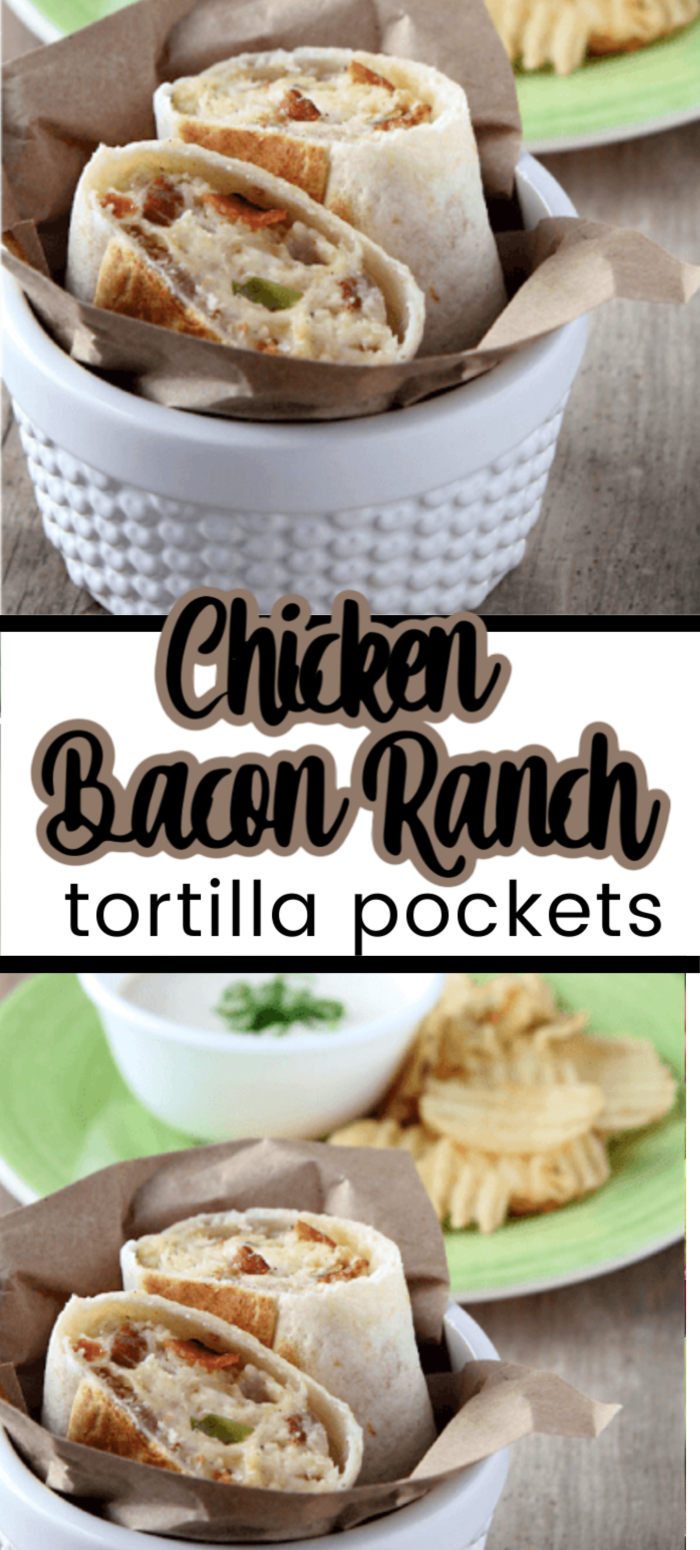 This easy recipe for  chicken bacon ranch tortilla pockets is not your average chicken wrap recipe. Learn how to make this chicken recipe for a wrap with loads of flavor and has bacon!